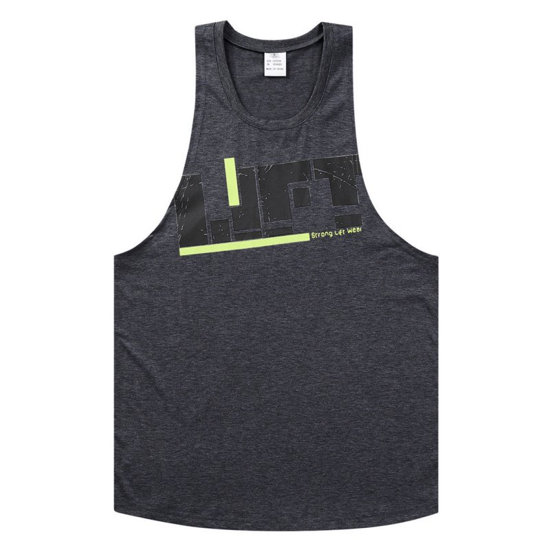 Men's Printed Training Vest Round Neck Soft Breathable Loose Tank Tops