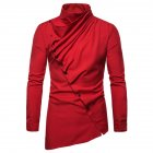 Men's Shirt Asymmetric Oblique Placket Stand-up Collar Long-sleeved Shirt Red _L