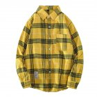 Men's Shirt Casual Long-sleeved Lapel Plaid Pattern Slim Shirt Yellow _XL