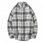Men s Shirt Casual Long sleeved Lapel Plaid Pattern Slim Shirt White L