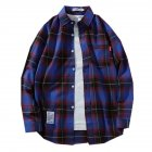 Men s Shirt Casual Long sleeved Lapel Plaid Pattern Slim Shirt Purple  M