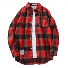 Men s Shirt Casual Long sleeved Lapel Plaid Pattern Slim Shirt Red  XXL
