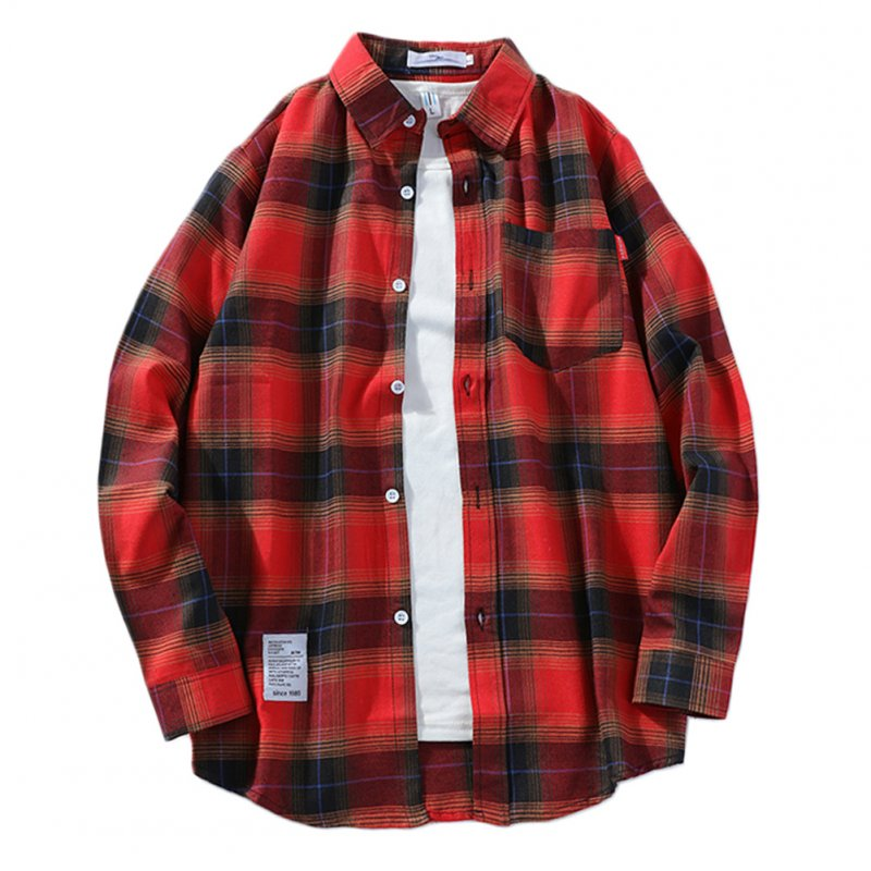 Men's Shirt Casual Long-sleeved Lapel Plaid Pattern Slim Shirt Red _XXL