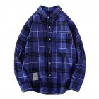 Men's Shirt Casual Long-sleeved Lapel Plaid Pattern Slim Shirt Blue _M