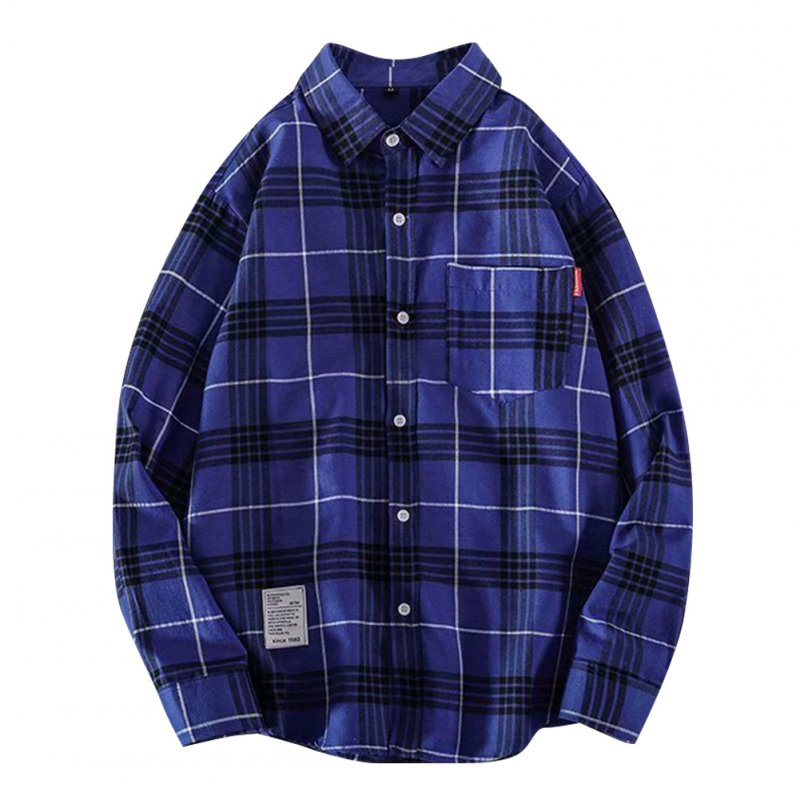 Men's Shirt Casual Long-sleeved Lapel Plaid Pattern Slim Shirt Blue _L