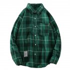 Men's Shirt Casual Long-sleeved Lapel Plaid Pattern Slim Shirt Green _L