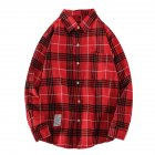 Men's Shirt Casual Long-sleeved Lapel Plaid Pattern Slim Shirt Red _M