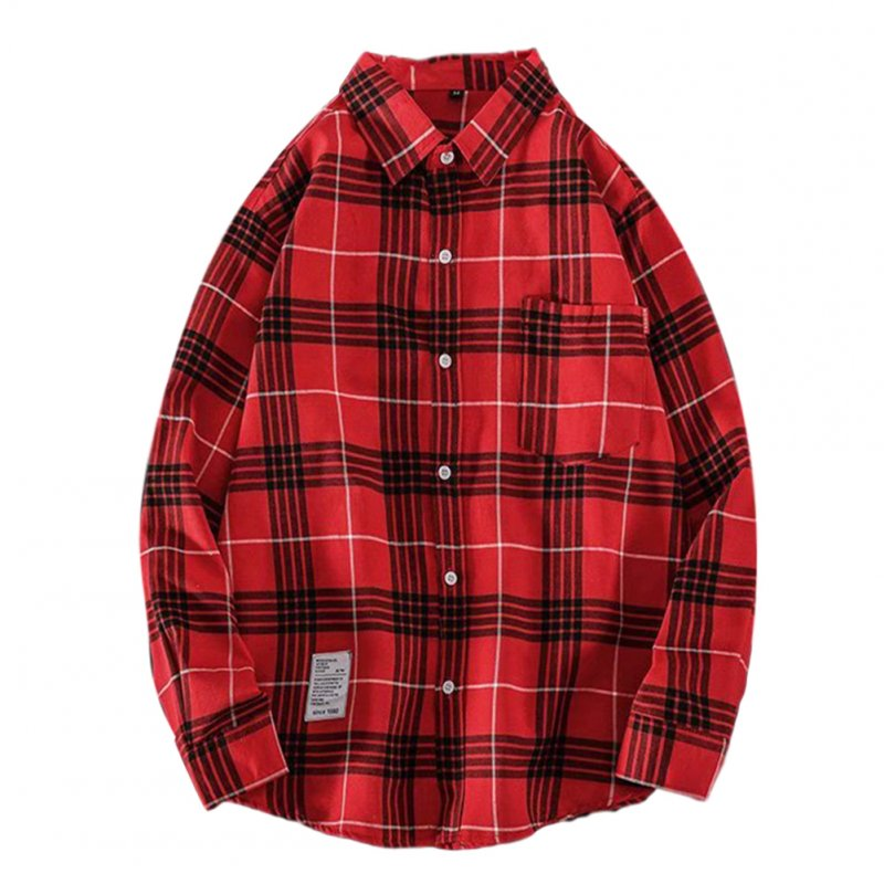 Men's Shirt Casual Long-sleeved Lapel Plaid Pattern Slim Shirt Red_XL