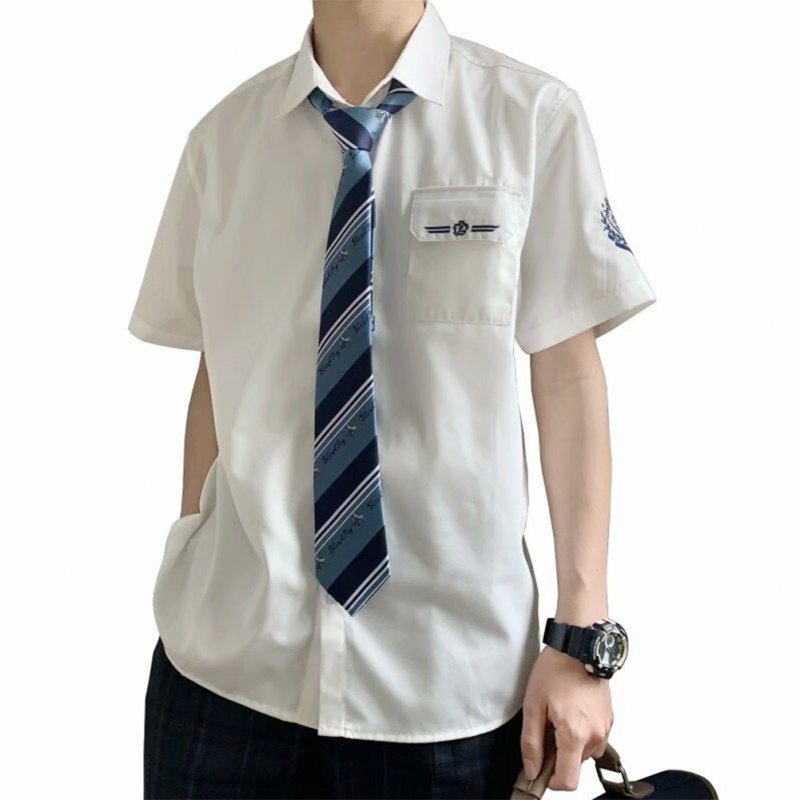 Men's Shirt Summer Embroidery Short-sleeve Uniform Shirts with Tie white_L