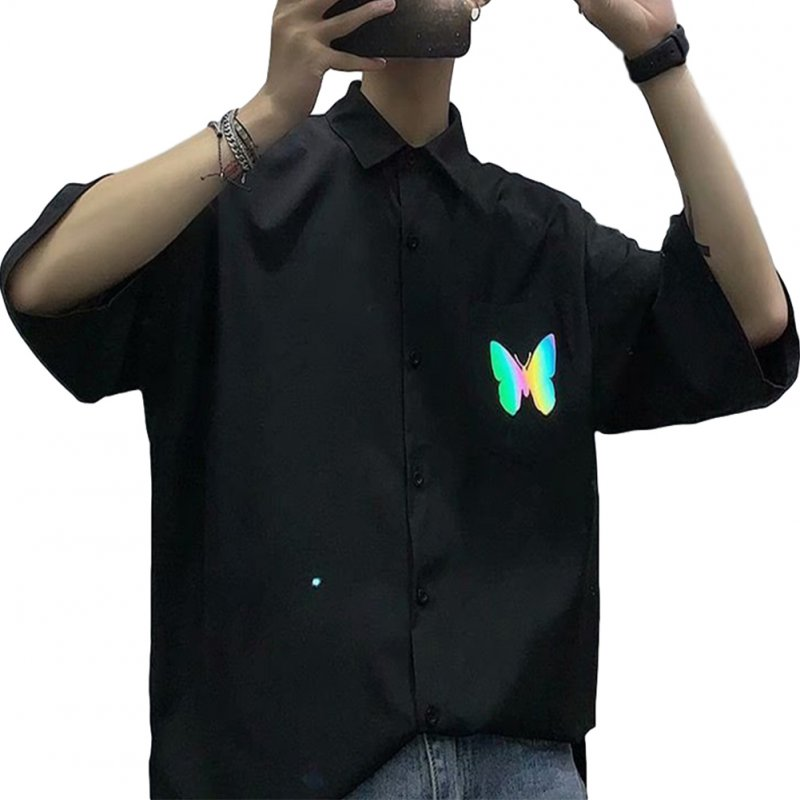 Men's Shirt Summer Large Size Loose Short-sleeve Uniform Shirts with Tie Black _M