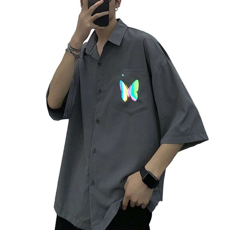 Men's Shirt Summer Large Size Loose Short-sleeve Uniform Shirts with Tie Gray _M