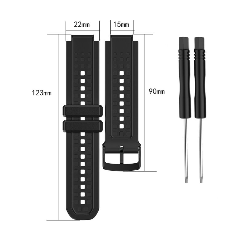 Men's Silicone Wristband Large Size Replacement Wristband for Garmin Forerunner 25 black