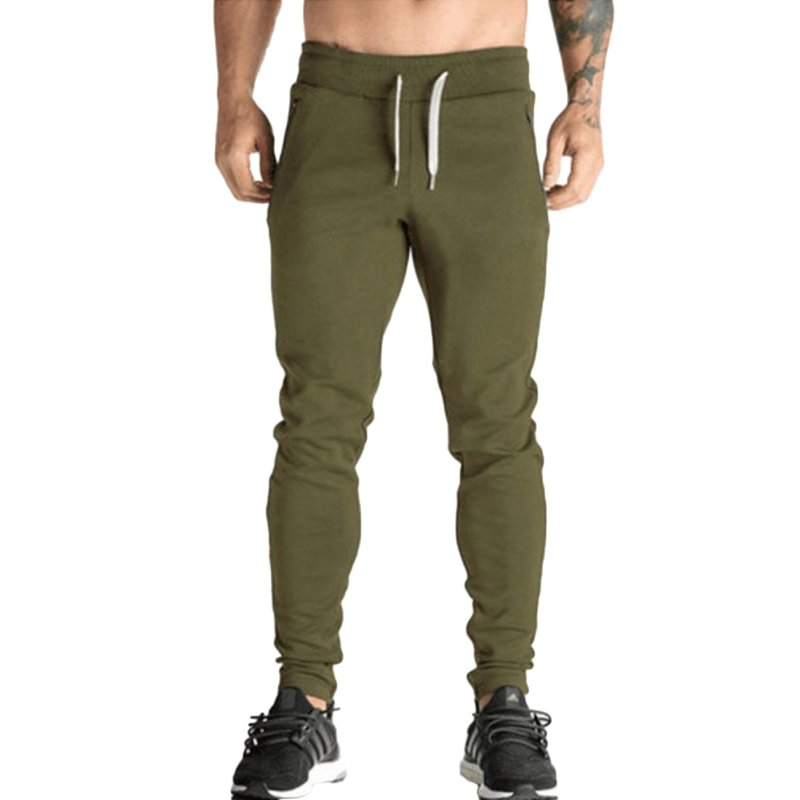 Men's Slim Casual Pants Stretch Cotton Running Sport Pencil Pants Thin Trousers  Army green_XL