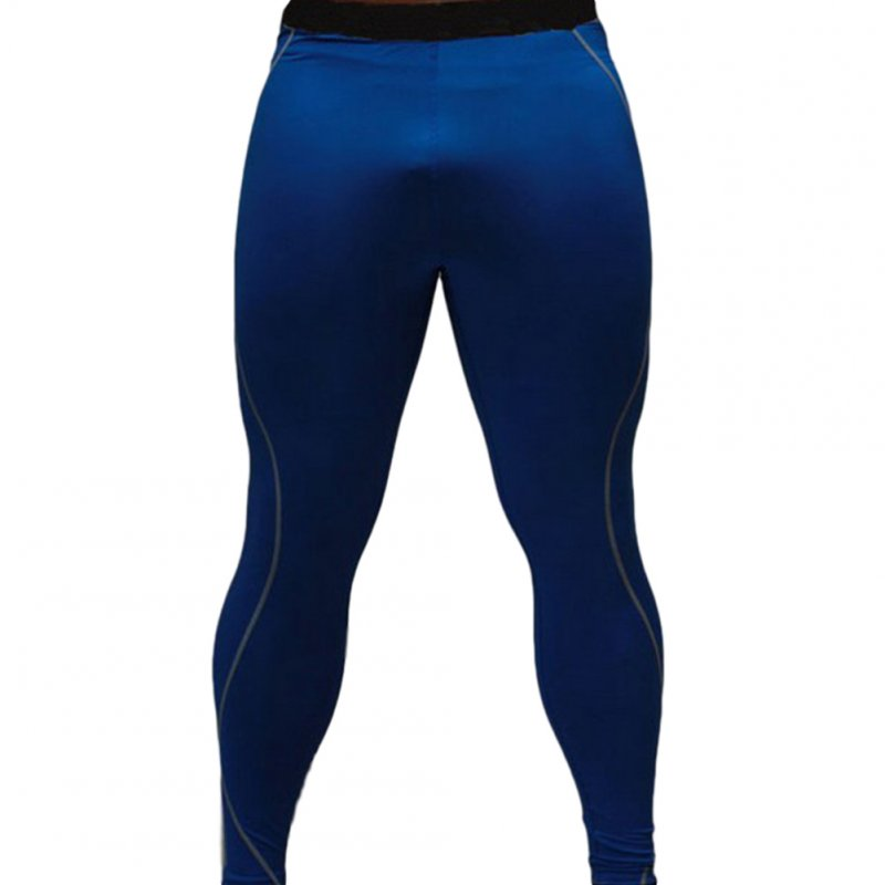 Men's Sports Pants Quick-drying Tight Sweat-wicking Sports Trousers Royal blue_L