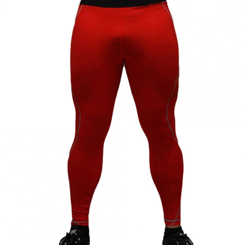 Men's Sports Pants Quick-drying Tight Sweat-wicking Sports Trousers Red _M