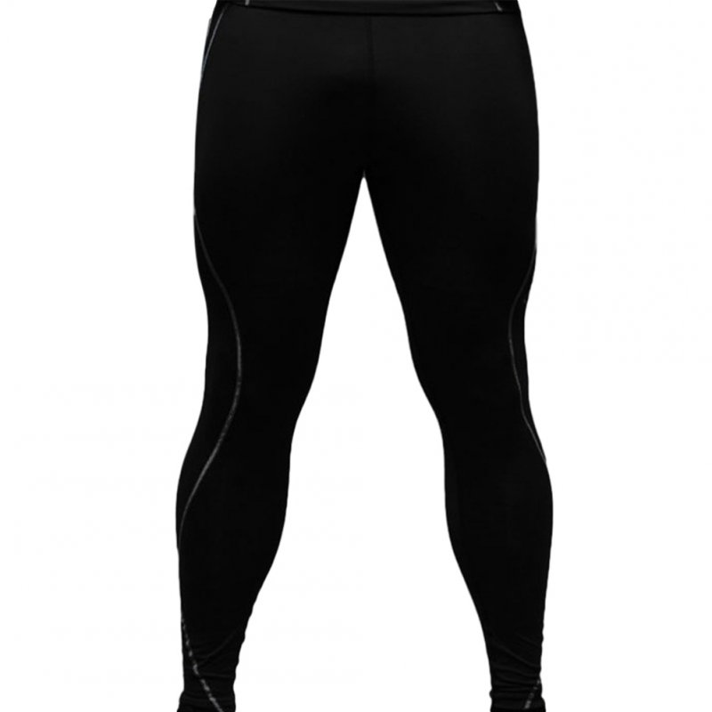Men's Sports Pants Quick-drying Tight Sweat-wicking Sports Trousers Black _M