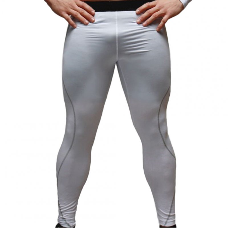 Men's Sports Pants Quick-drying Tight Sweat-wicking Sports Trousers White _L