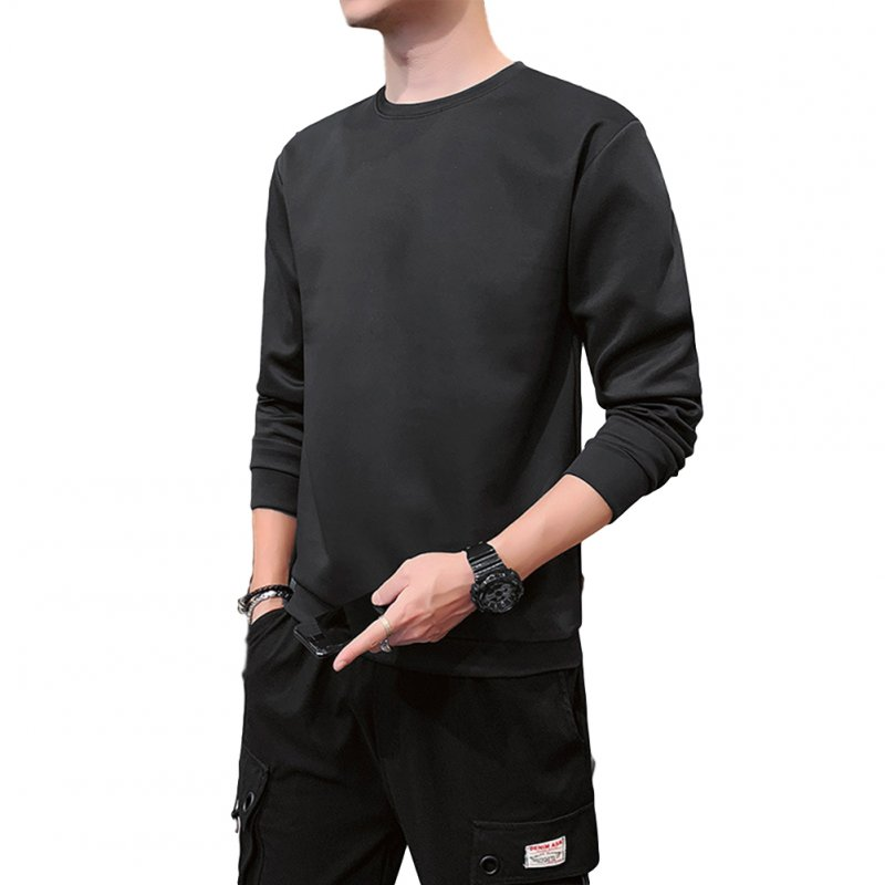 Men's Sweatshirt Round Neck Long-sleeved Solid Color Bottoming Shirt black_XXL