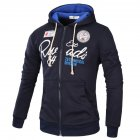 Men s Sweatshirts Letter Printed Long sleeve Zipper Cardigan Hoodie Navy  M