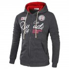 Men's Sweatshirts Letter Printed Long-sleeve Zipper Cardigan Hoodie Dark gray and red _2XL