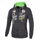 Men s Sweatshirts Letter Printed Long sleeve Zipper Cardigan Hoodie Dark gray and green L