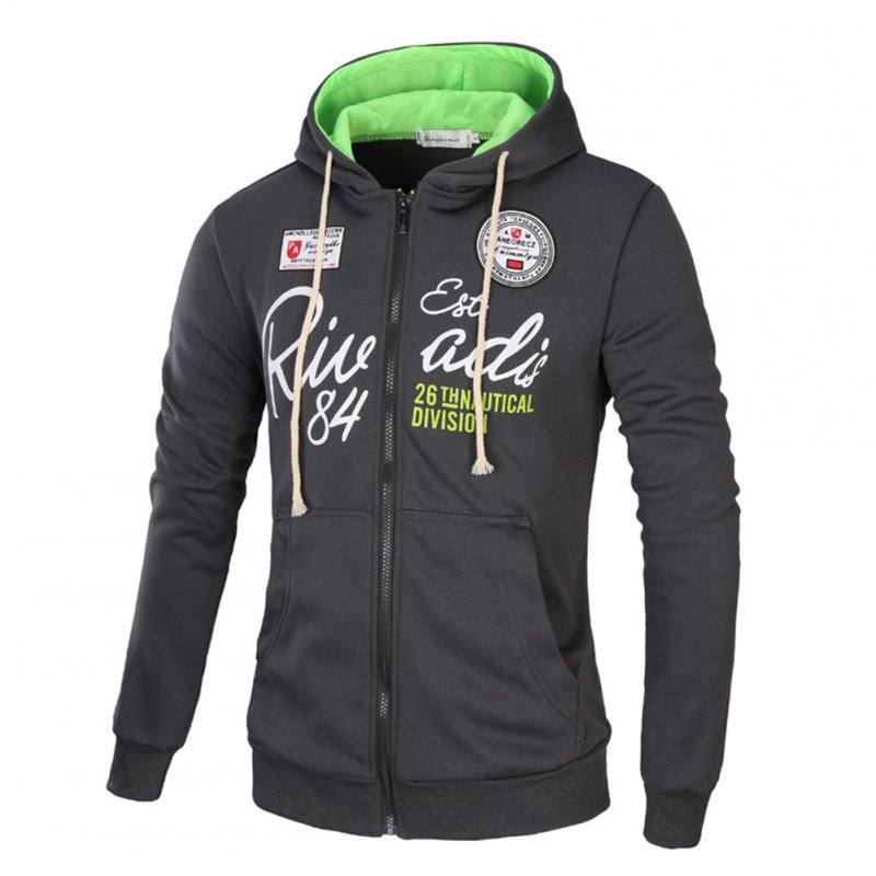 Men's Sweatshirts Letter Printed Long-sleeve Zipper Cardigan Hoodie Dark gray and green_L