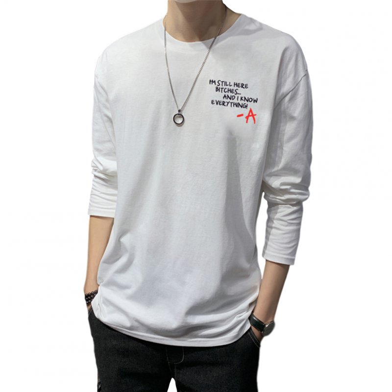 Men's T-shirt Autumn Long-sleeve Thin Type Loose Bottoming Shirt  white_L