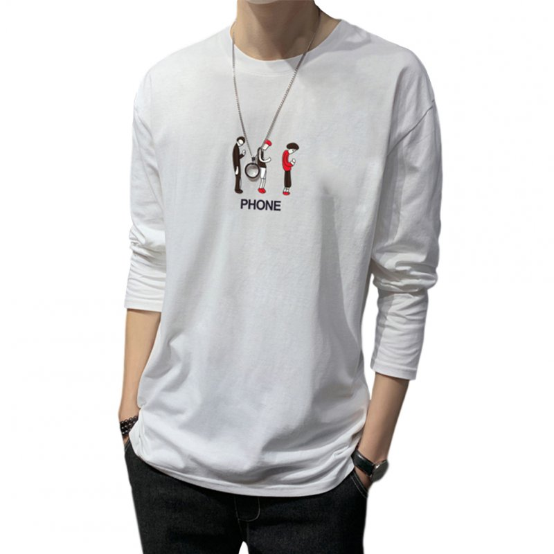 Men's T-shirt Autumn Long-sleeve Thin Loose Cartoon Printing Bottoming Shirt white_4XL