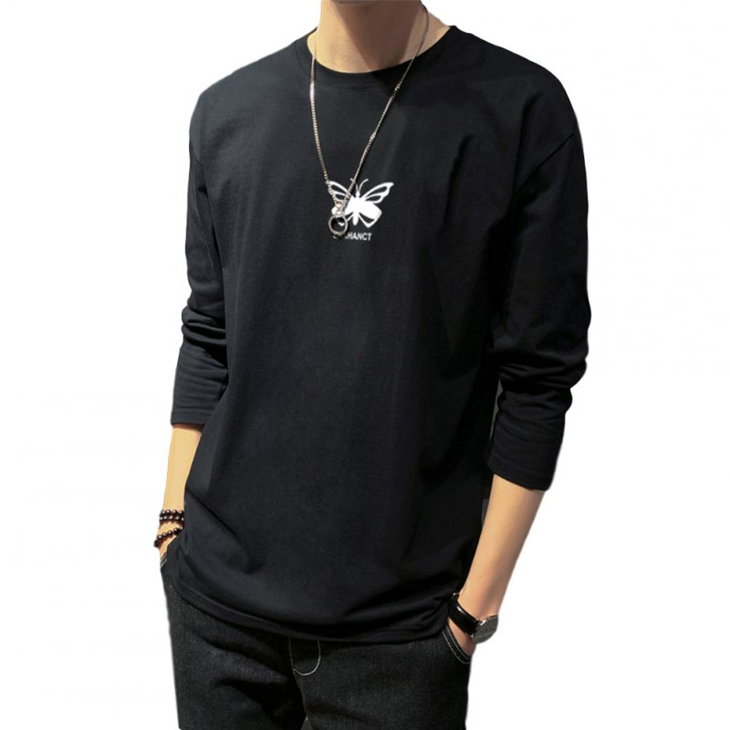 Men's T-shirt Autumn Long-sleeved Thin Loose Butterfly-printing Bottoming Shirt  black_XXL