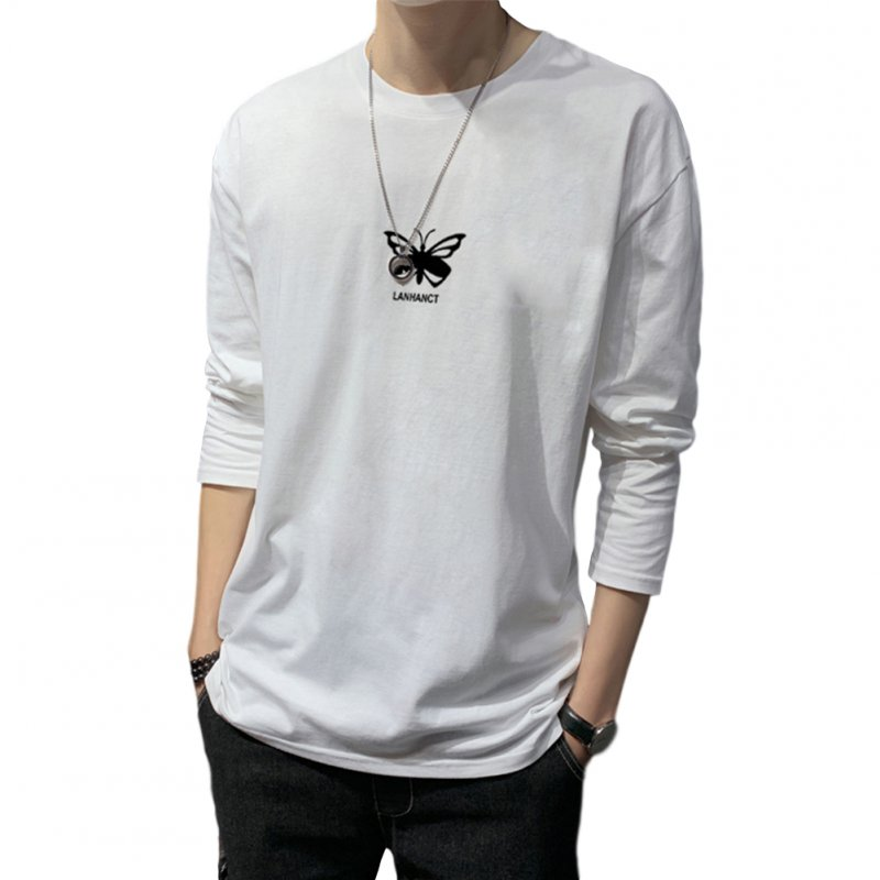 Men's T-shirt Autumn Long-sleeved Thin Loose Butterfly-printing Bottoming Shirt  white_M