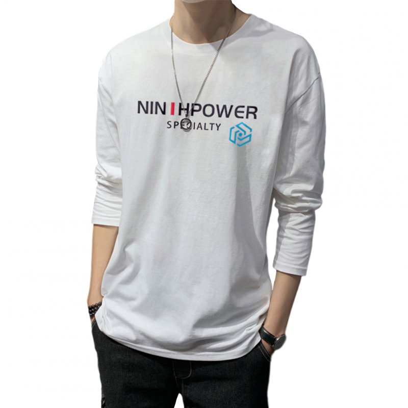 Men's T-shirt Autumn Long-sleeve Thin Type Loose Bottoming Shirt  white_3XL