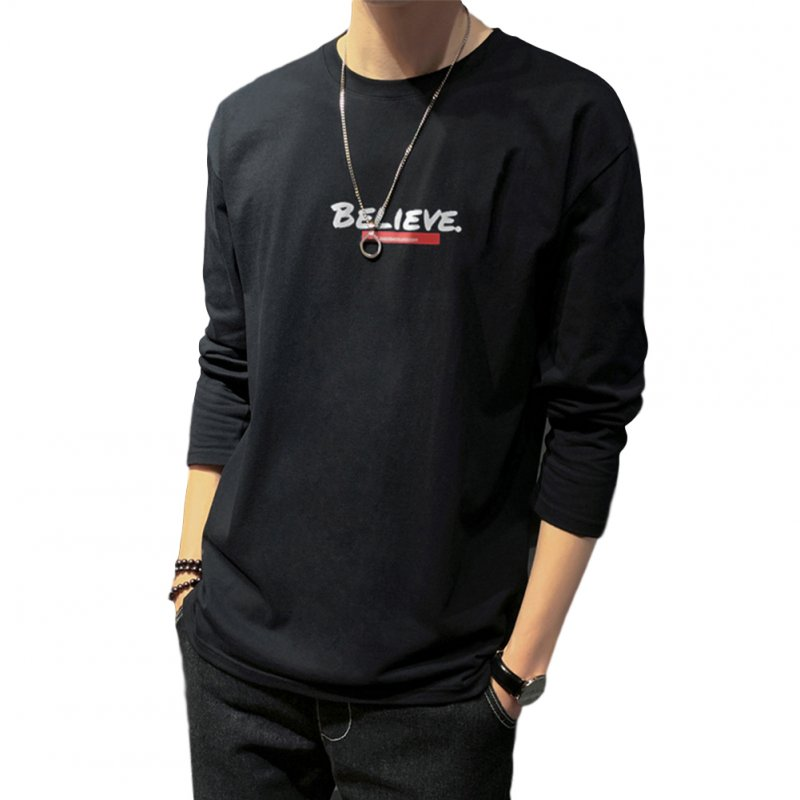 Men's T-shirt Autumn Long-sleeve Thin Type Loose Letter Printing Bottoming Shirt  black_3XL