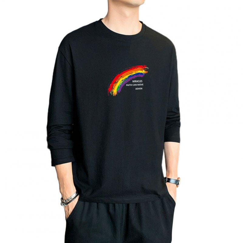 Men's T-shirt Autumn Printing Loose Long-sleeve Bottoming Shirt Black _L