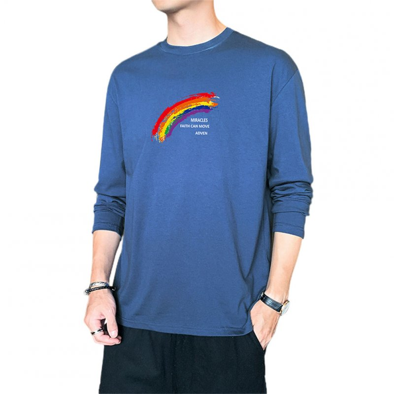 Men's T-shirt Autumn Printing Loose Long-sleeve Bottoming Shirt Dark blue_M