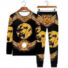 Men's T-shirt Dragon Pattern Round Neck Casual Long-sleeved Shirt Chinese Dragon Long Sleeve#Set_XXXL