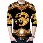 Men's T-shirt Dragon Pattern Round Neck Casual Long-sleeved Shirt Chinese Dragon Long Sleeve#Top_XXL
