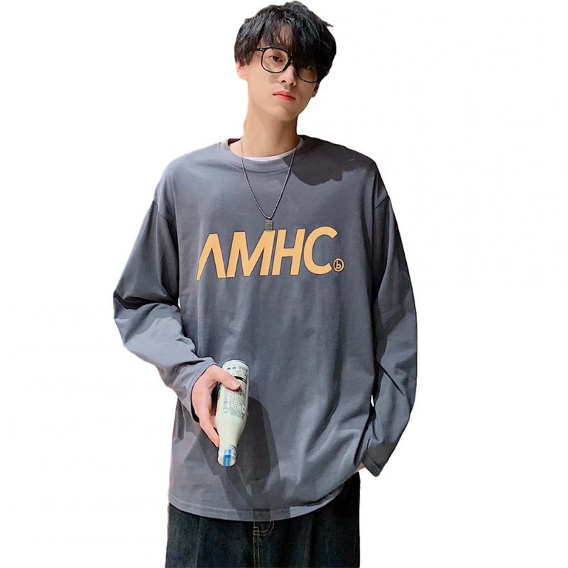 Men's T-shirt Spring and Autumn Long-sleeve Letter Printing Crew- Neck All-match Bottoming Shirt Gray _XL