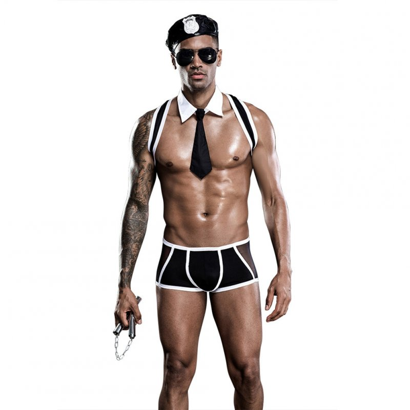 Men's Underwear Perspective Sexy  Nightclub Performance Costume Sexy Uniforms free size