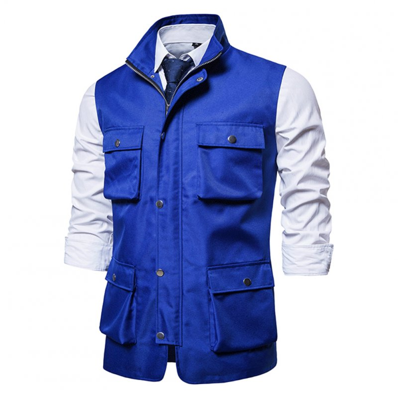 Men's Vest Autumn and Winter Casual Multi-pocket Solid Color Vest Blue _L