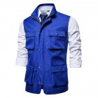 Men's Vest Autumn and Winter Casual Multi-pocket Solid Color Vest Blue _M