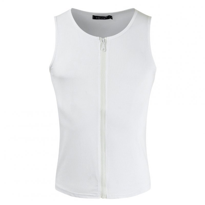Men's Vest Casual Half-opening Seamless Fitness Zipper Vest White_M