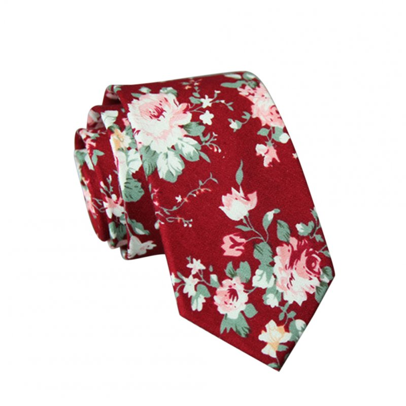 Men's Wedding Tie Floral Cotton Necktie Birthday Gifts for Man Wedding Party Business Cotton printing-035