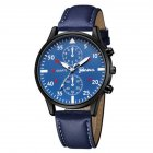 Men's Wrist Watch Simple Style Business Fake Leather Belt Quartz Watch blue