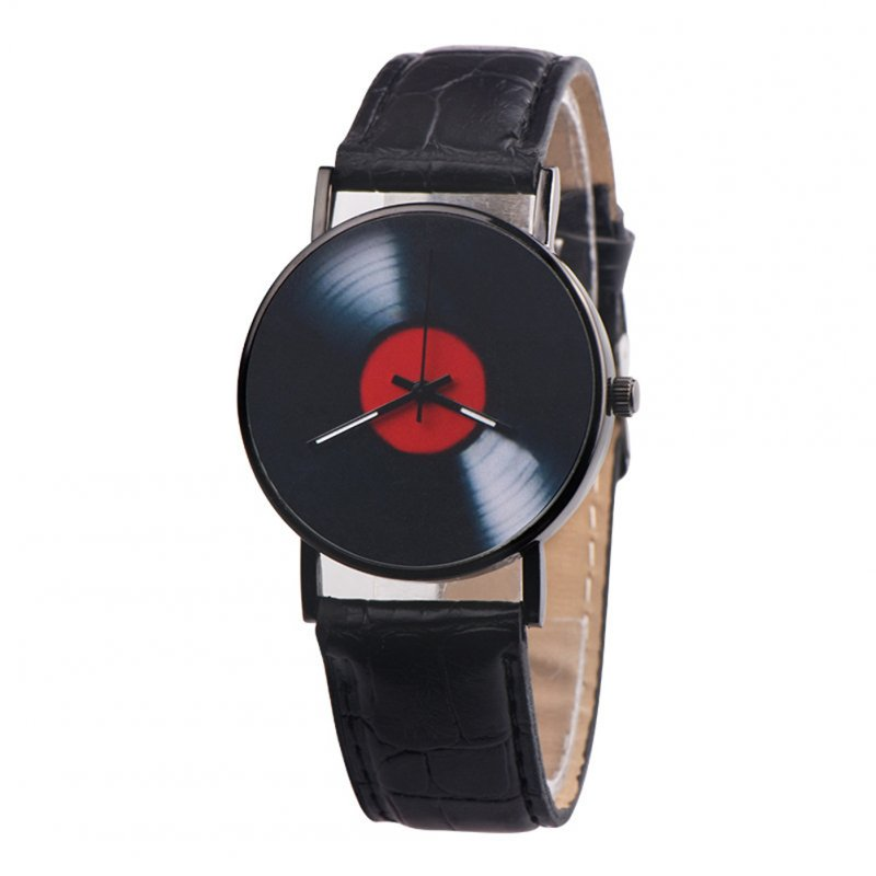 Men's Wristwatch Simple Style  Record Modeling Fake Leather Quartz Watch black