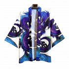 Men's and Women's Coat Robe Cardigan Pattern Print Kimono Road Robe Loose Jacket Without Button White_XL