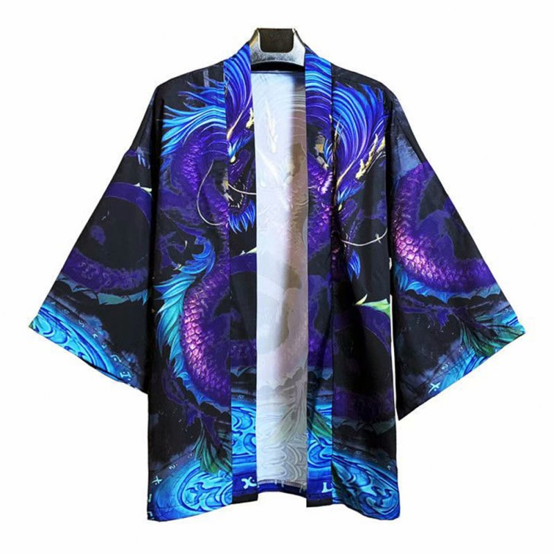 Men's and Women's Coat Robe Cardigan Pattern Print Kimono Road Robe Loose Jacket Without Button Blue _M