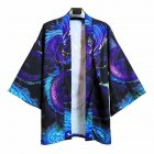 Men's and Women's Coat Robe Cardigan Pattern Print Kimono Road Robe Loose Jacket Without Button Blue _L