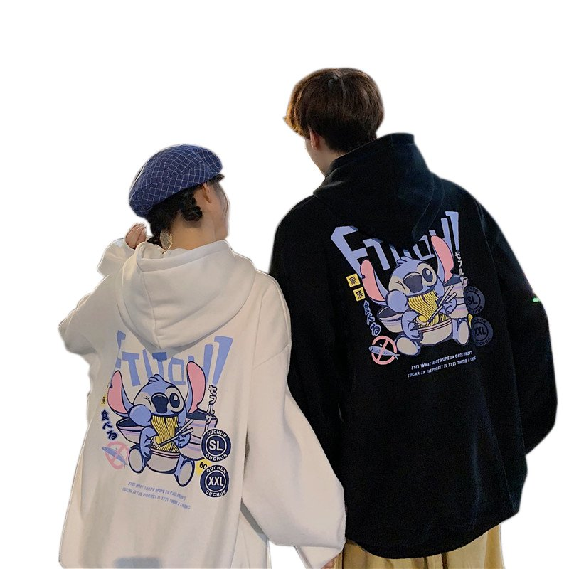 Men's and Women's Hoodie Spring and Autumn Thin Loose Cartoon Print Long-sleeve Hooded Sweater white_XL