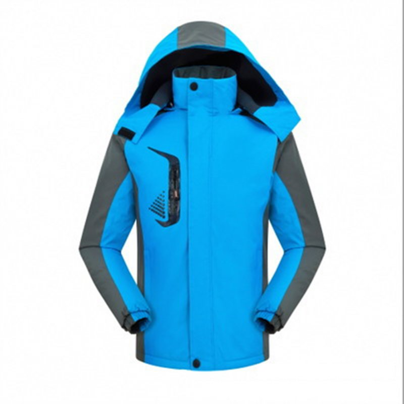 Men's and Women's Jackets Winter Velvet Thickening Windproof and Rainproof Mountaineering Clothes blue_L
