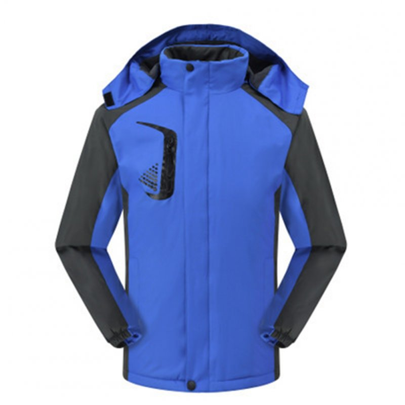 Men's and Women's Jackets Winter Velvet Thickening Windproof and Rainproof Mountaineering Clothes Royal blue_4XL